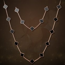 alhambra pink gold replica van cleef & arpels onyx long necklace