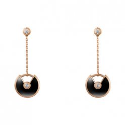 amulette de cartier faux Or rose boucle d'oreille onyx Incrusté 4 diamants B8301230