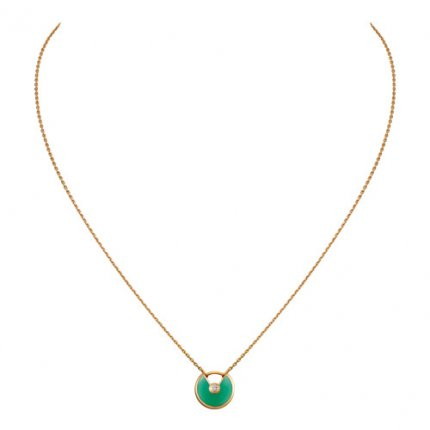 amulette de cartier replica yellow gold necklace chrysoprase diamond pendant
