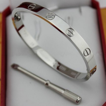 cartier fake love bracelet white gold steel with screwdriver