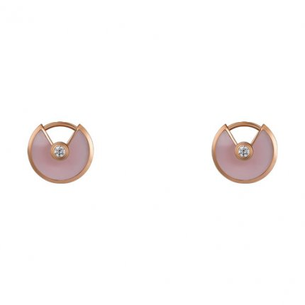 amulette de cartier fake pink gold earring Pink Opal inlaid with two diamonds B8301240