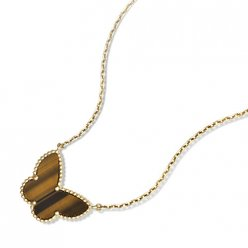 alhambra yellow gold replica van cleef & arpels tiger's eye pendant