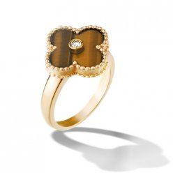 alhambra gelbgold replika van cleef & arpels tiger's eye with round diamond ring