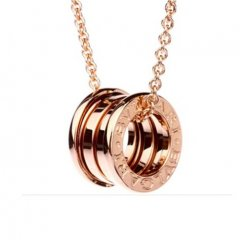 Bvlgari B.ZERO1 replica necklace pink gold 4 band pendant