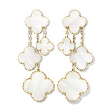 alhambra gelbgold replik van cleef & arpels white mother-of-pearl ohrringe
