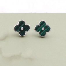 alhambra or blanc faux van cleef & arpels malachite round Diamants boucles d'oreilles