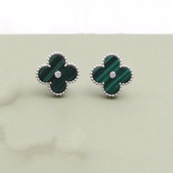 alhambra white gold fake van cleef & arpels malachite round diamonds earrings