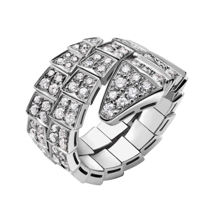 Bvlgari Serpenti fake ring white gold double-spiral Covered with diamonds