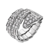 Bvlgari Serpenti faux bague or blanc Double spirale Couvert de diamants