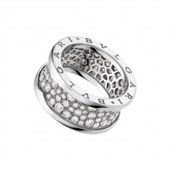 Bvlgari B.ZERO1 replique bague or blanc Central Couvert de diamants