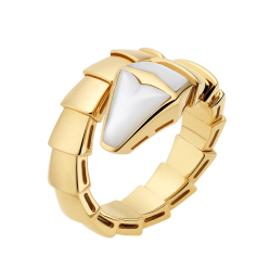 Bvlgari Serpenti fake ring yellow gold ring with mother of pearl