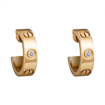 cartier replica love yellow gold earring inlaid with two diamonds B8022900
