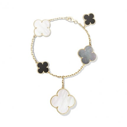 alhambra gelbgold replika van cleef & arpels white and gray mother-of-pearl armband