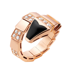Bvlgari Serpenti faux bague Or rose onyx Pavé de diamants