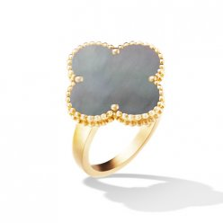 alhambra yellow gold fake van cleef & arpels gray mother-of-pearl ring