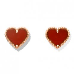 alhambra pink gold fake van cleef & arpels heart carnelian earrings