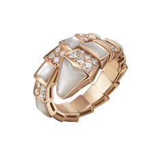 Bvlgari Serpenti faux bague Or rose Avec nacre Et pavage de diamants