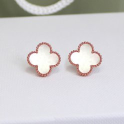 alhambra or rose copie van cleef & arpels white mother-of-pearl boucles d'oreilles