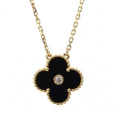 alhambra yellow gold replica van cleef & arpels onyx round diamond pendant