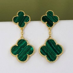 alhambra yellow gold fake van cleef & arpels 4 malachite earrings