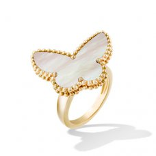 butterfly or jaune replique van cleef & arpels white mother-of-pearl bague