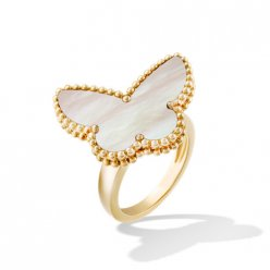 butterfly oro giallo replica van cleef & arpels white mother-of-pearl anello