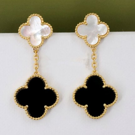alhambra yellow gold replica van cleef & arpels onyx white mother-of-pearl earrings