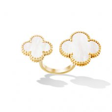 between the finger gelbgold replika van cleef & arpels white mother-of-pearl ring