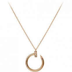 cartier copy juste un clou pink gold necklace paved with diamonds nail pendant