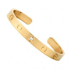 cartier replica cuff steel bracelet yellow gold with one diamond