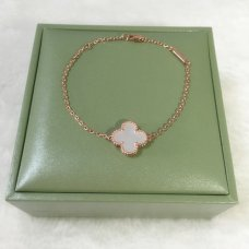 alhambra pink gold replica van cleef & arpels white mother-of-pearl bracelet