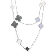 alhambra weißgold replik van cleef & arpels white and gray mother-of-pearl chalcedony lange halskette