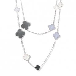 alhambra white gold replica van cleef & arpels white and gray mother-of-pearl chalcedony long necklace