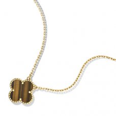 alhambra yellow gold fake van cleef & arpels tiger's eye pendant