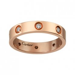 cartier copy love pink Gold ring eight diamond narrow version