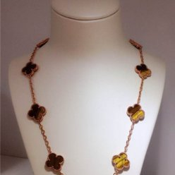 alhambra pink gold fake van cleef & arpels tiger's eye necklace