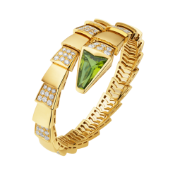 Bvlgari Serpenti replica Bracelet yellow gold with peridot head and diamonds