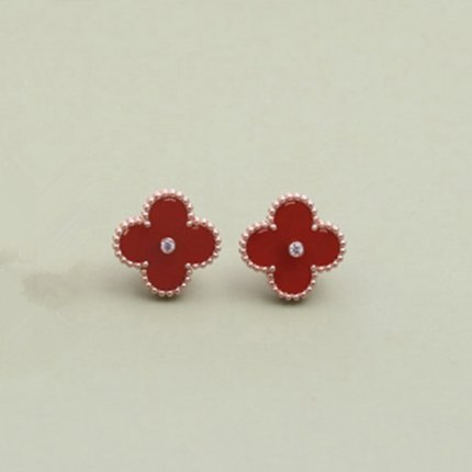 alhambra or rose copie van cleef & arpels carnelian round Diamants boucles d'oreilles