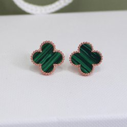 alhambra pink gold fake van cleef & arpels malachite earrings