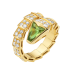 Bvlgari Serpenti replica ring yellow gold with peridot head paved with diamonds