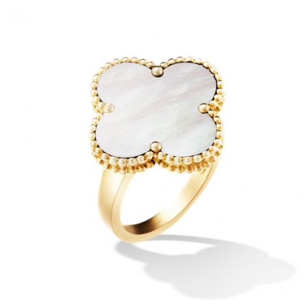 alhambra oro giallo replica van cleef & arpels white mother-of-pearl anello