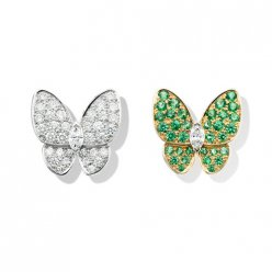 alhambra round tsavorite garnets fake van cleef & arpels marquise-cut diamonds earrings