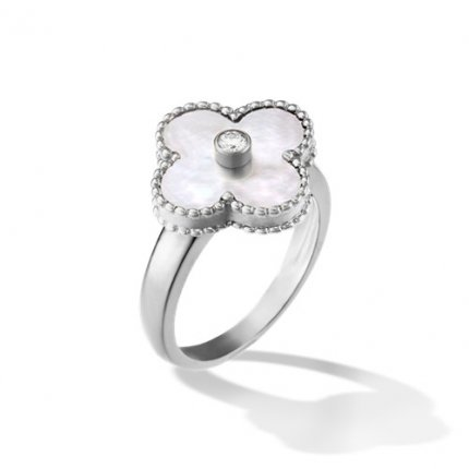 alhambra white gold fake van cleef & arpels white mother-of-pearl ring