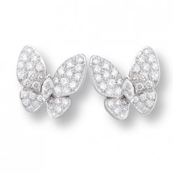 alhambra round white diamond fake van cleef & arpels marquise-cut diamonds earrings