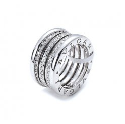 Bvlgari B.ZERO1 copy ring white gold 4 band Central Covered with diamonds