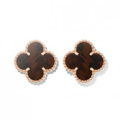 alhambra pink gold replica van cleef & arpels bois d'amourette earrings