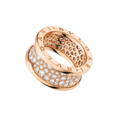 Bvlgari B.ZERO1 fake ring pink gold Central Covered with diamonds