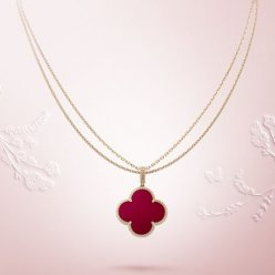alhambra yellow gold replica van cleef & arpels carnelian long necklace