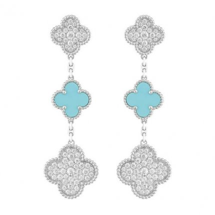 alhambra white gold replica van cleef & arpels turquoise round diamonds earrings