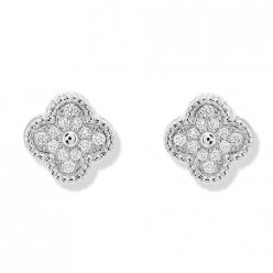 alhambra or blanc faux van cleef & arpels round Diamants boucles d'oreilles